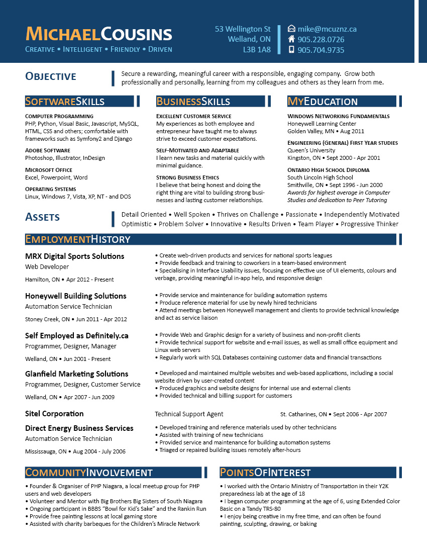 Resume for Michael Cousins - click to download PDF version